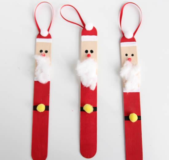 Reciclagem de palito de picolé para fazer Papai Noel