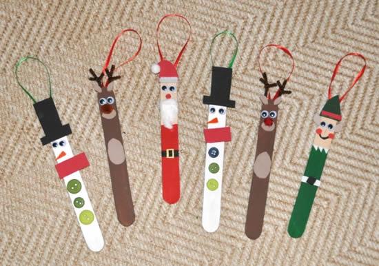 Bonecos de Natal com palitos de picolé