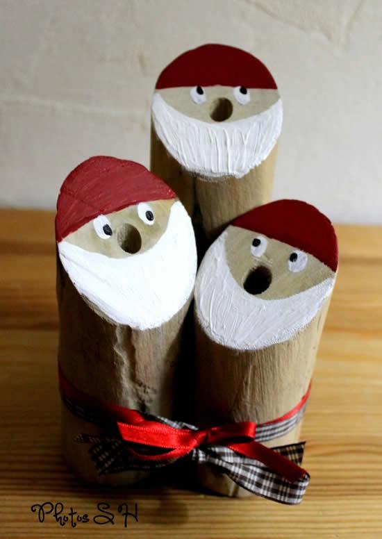 Papai Noel de enfeite com madeira