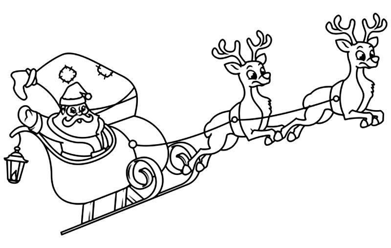 Desenho de Papai Noel com trenó e renas