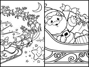 Desenhos de Papai Noel com trenó para pintar