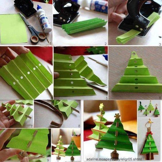 árvores de natal com papel