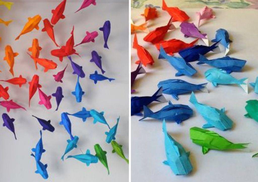 Decoração com carpas de origami