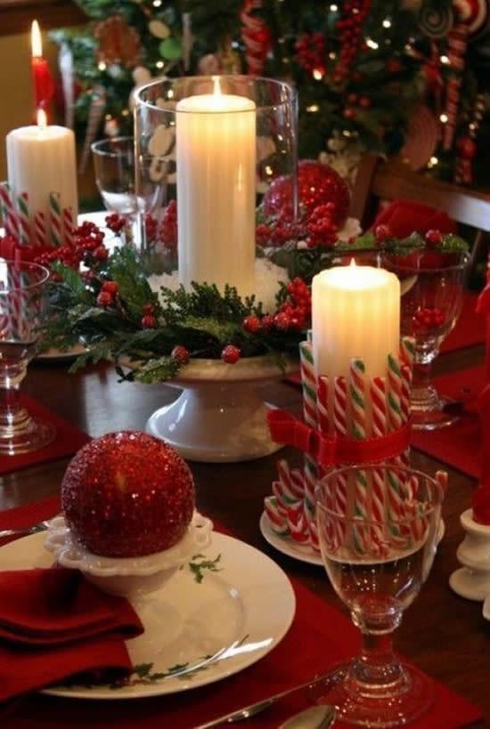 Lindos centros de mesa com velas para o Natal