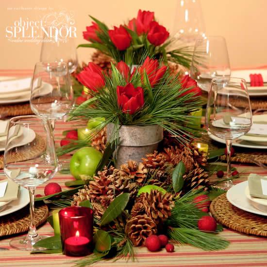 Decoração de Natal com centro de mesa