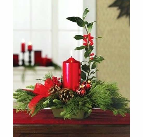 Decoração com centro de mesa para Natal