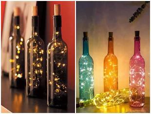 Enfeites com garrafas e pisca-pisca para Natal