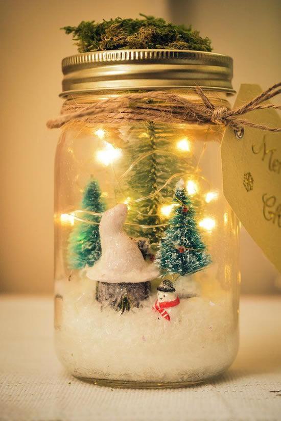 Decoração com potes de vidro para o Natal