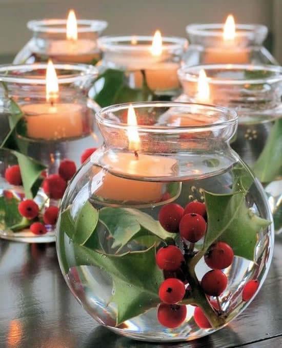 Enfeites lindos com velas para Natal