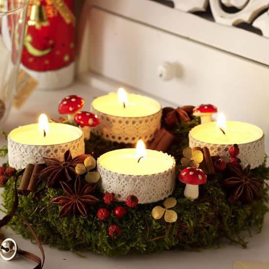 Enfeite com velas para Natal