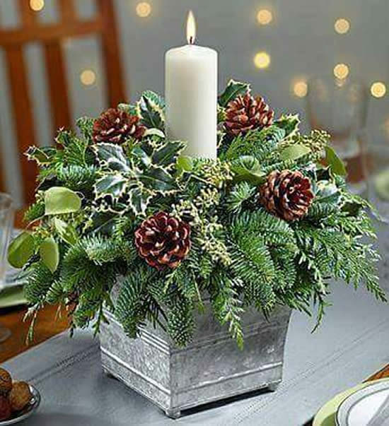 Enfeite com vela para Natal