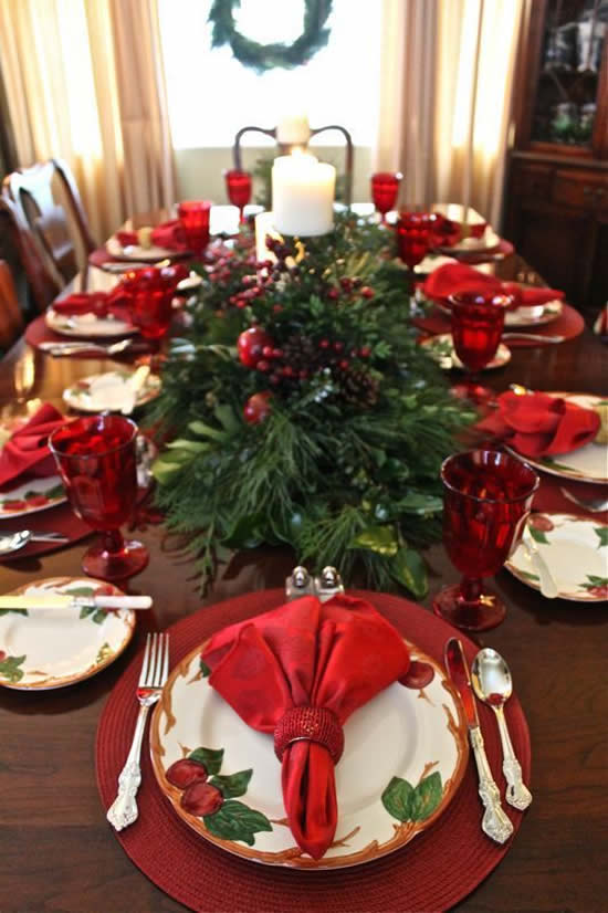 Decoração de mesa para sua casa no Natal