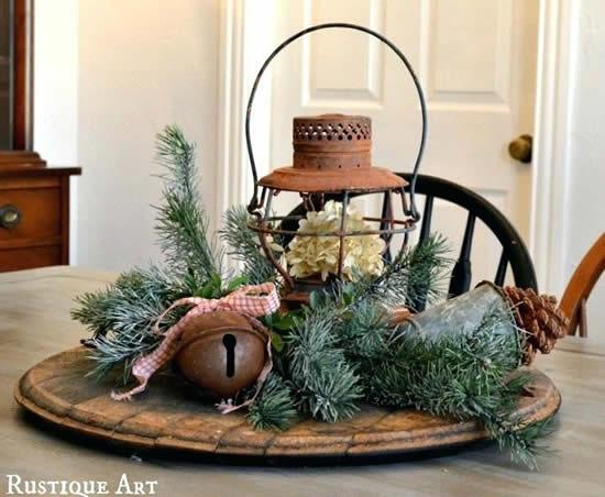 Decoração rústica para mesa de Natal