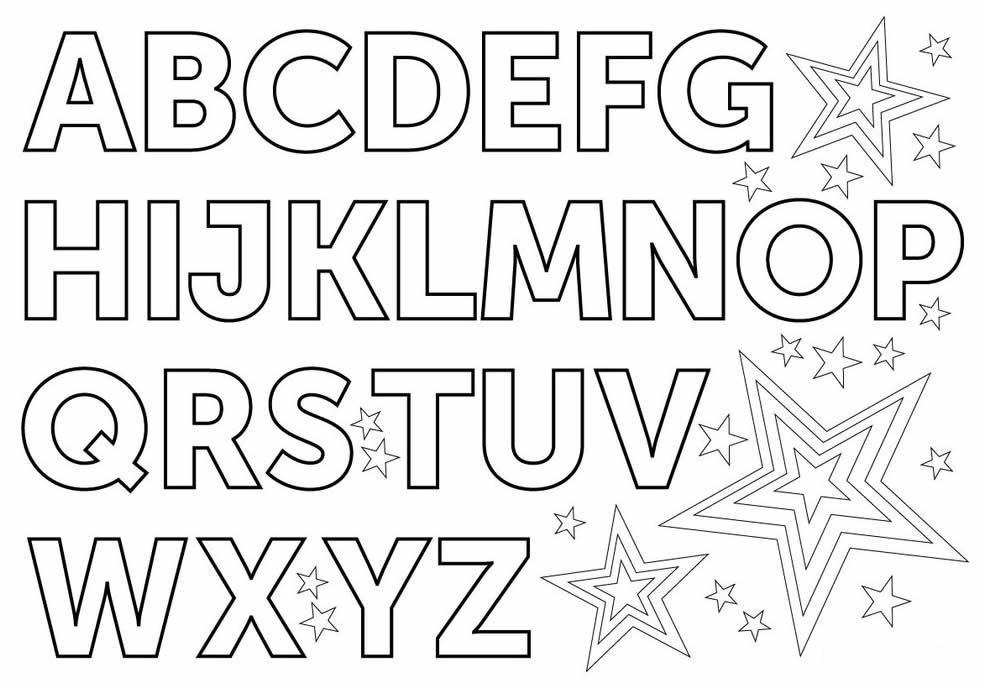Lindos desenhos das letras do alfabeto para pintar