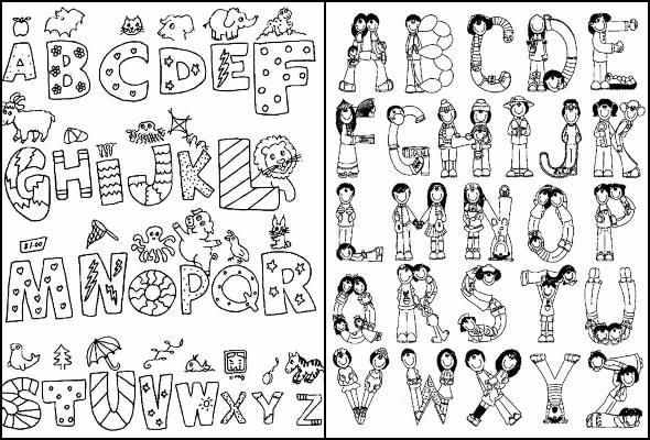 Desenhos do alfabeto para colorir