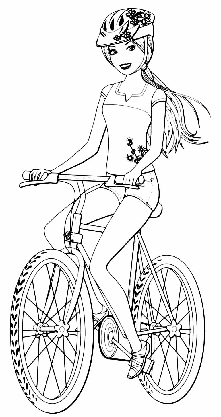Desenho para colorir da Barbie com bicicleta