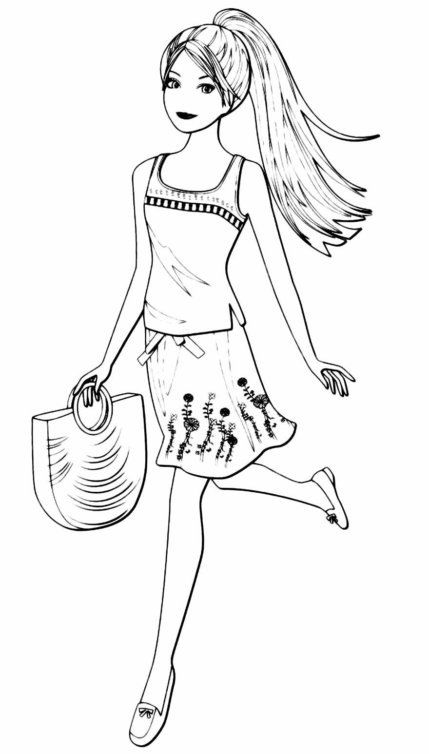 Desenho para colorir da Barbie com bolsa