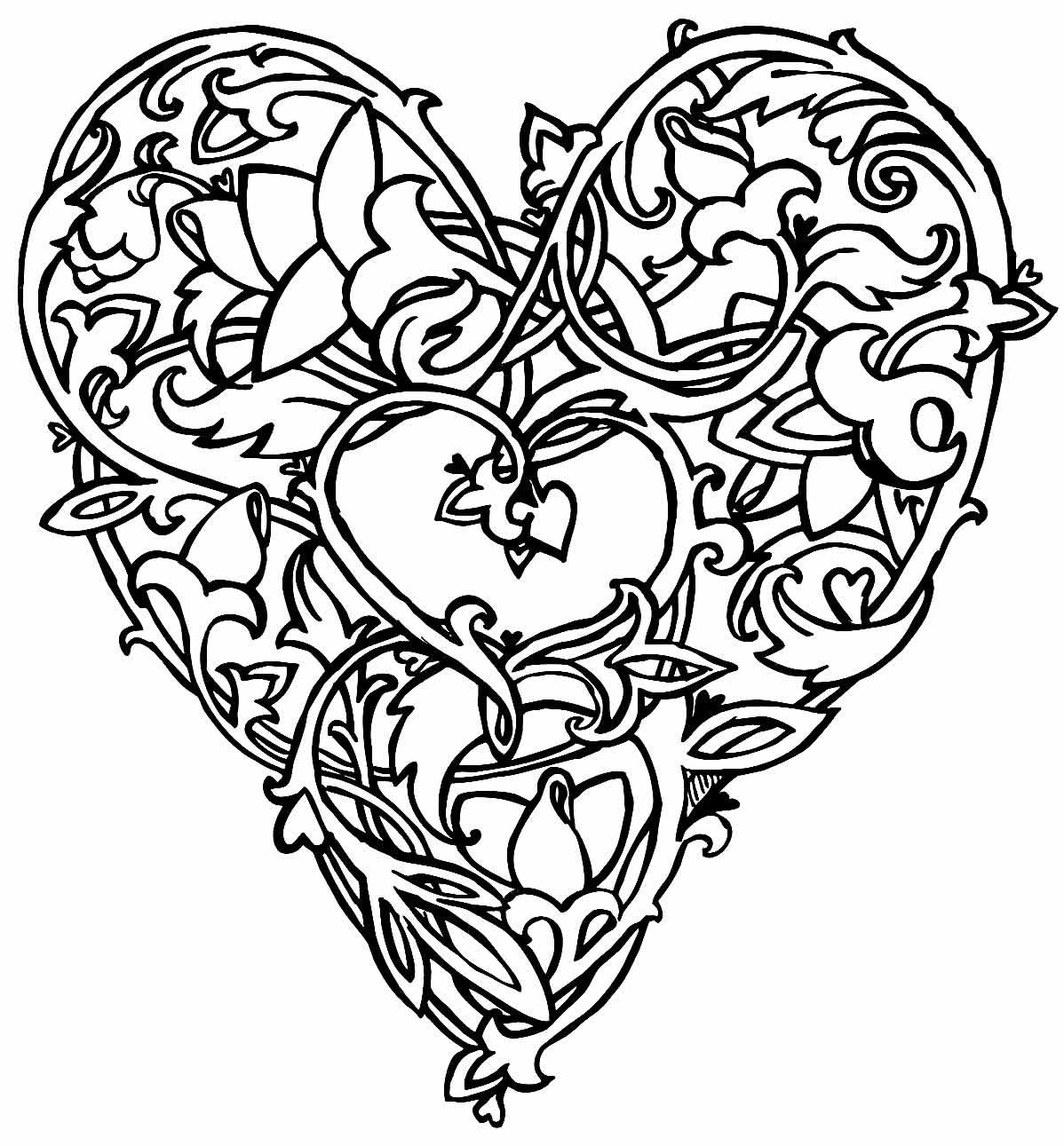 Imagem de coração para pintar