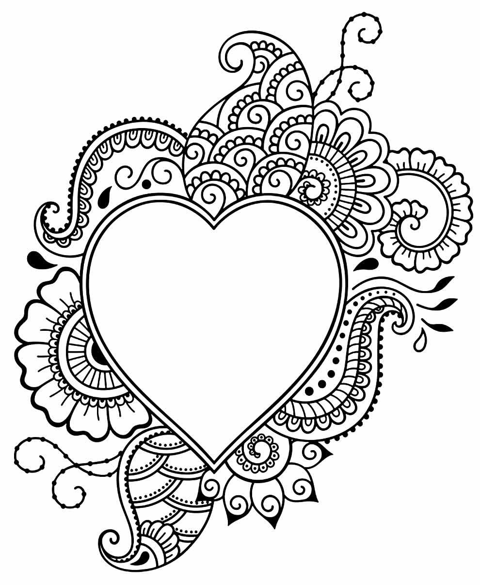 Desenho lindo de coração para pintar