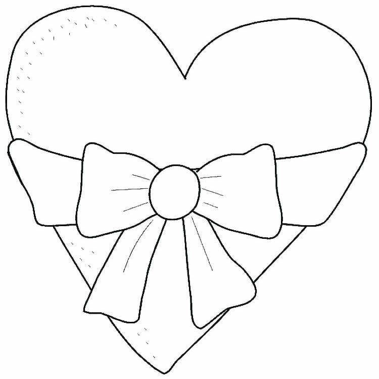 Desenho de coração com laço