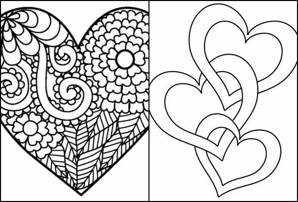 Desenhos de coração para pintar e colorir