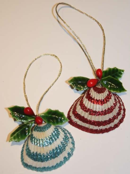 Decoração de Árvore de Natal com conchas