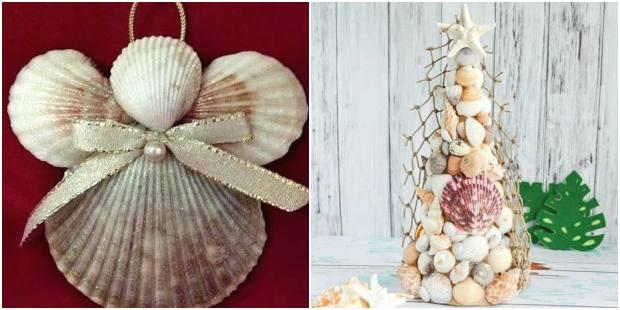 Enfeites com conchas para o Natal
