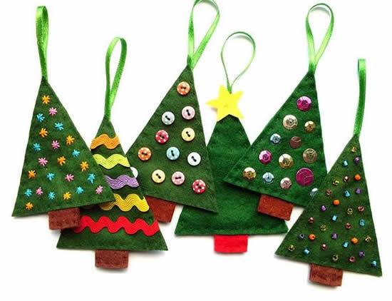 Lindos enfeites de feltro para Natal