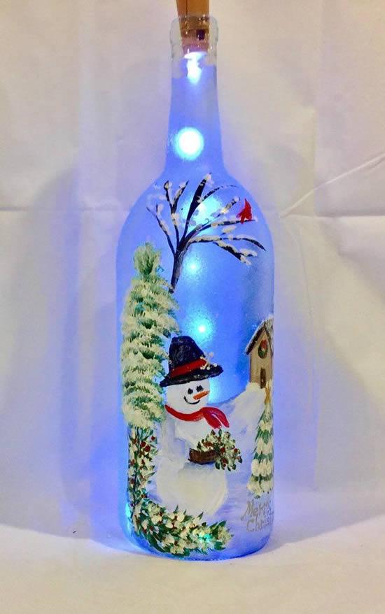 Enfeite com pisca-pisca e garrafa para o Natal