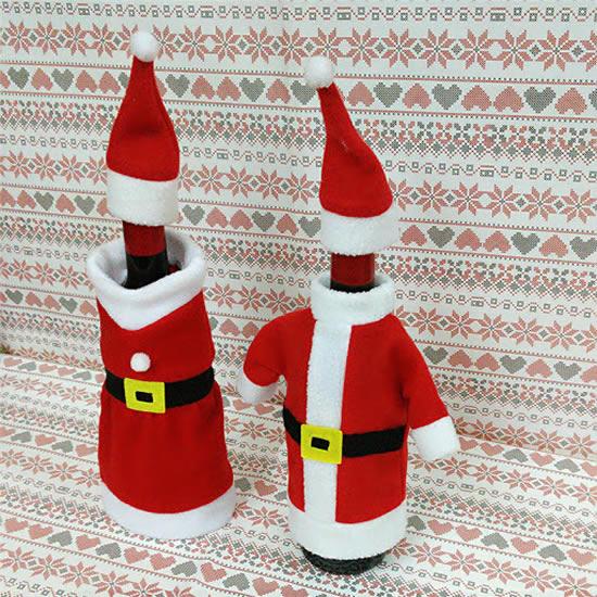 Garrafas decoradas com tecido para o Natal