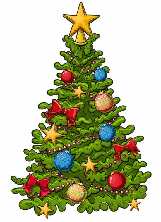 Desenho colorido de Árvore de Natal