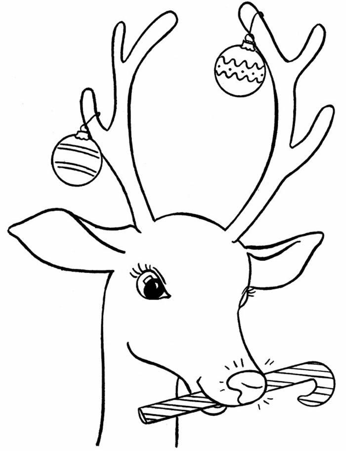 Desenho de Rena de Natal para colorir e pintar