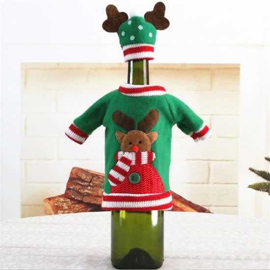 Lindas roupas de Natal para garrafas