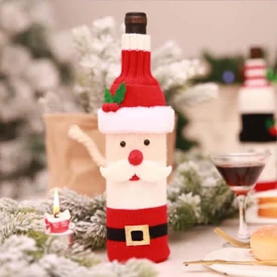 Roupinha de Papai Noel para garrafas