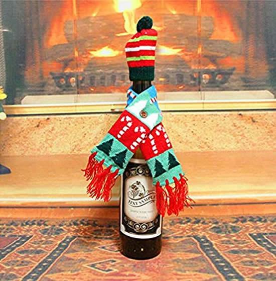 Roupinha de Natal para garrafa de vidro