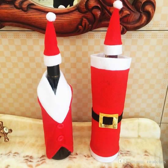 Roupinha linda de Papai Noel para garrafas
