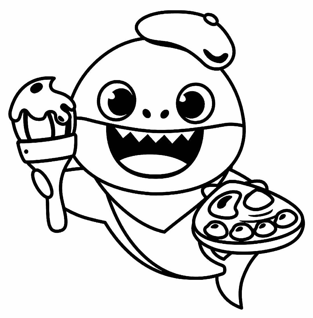 Desenho do Baby Shark para colorir