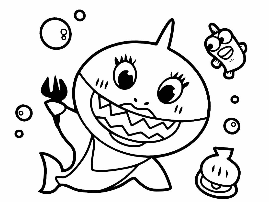 Desenho lindo do Baby Shark para colorir