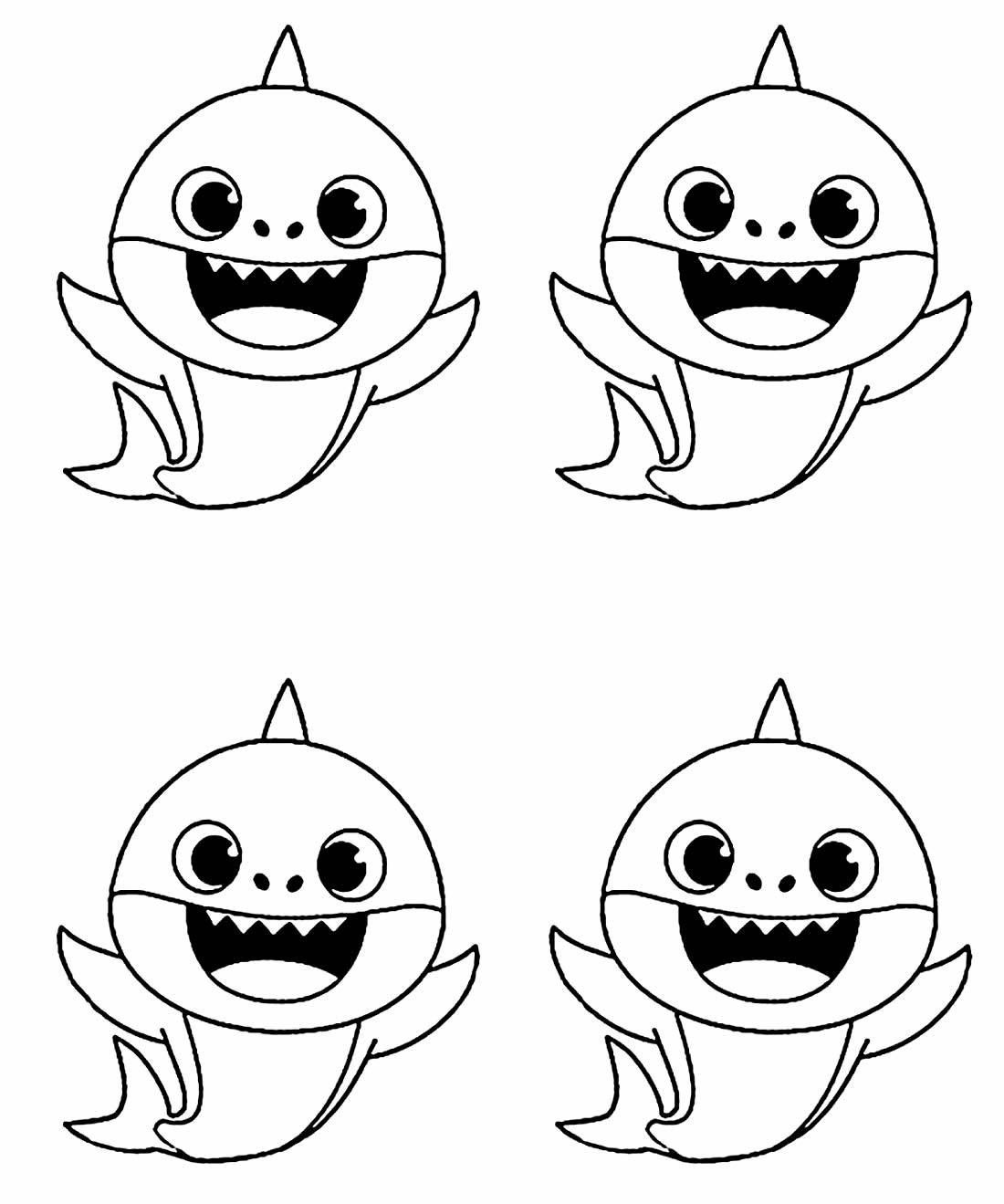 Desenho lindo fofo Baby Shark para colorir