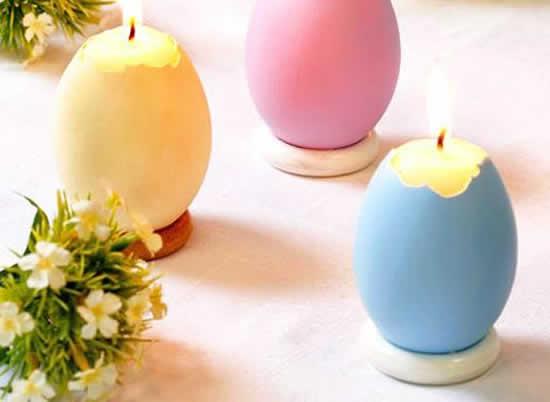 Vela artesanal com cascas de ovos