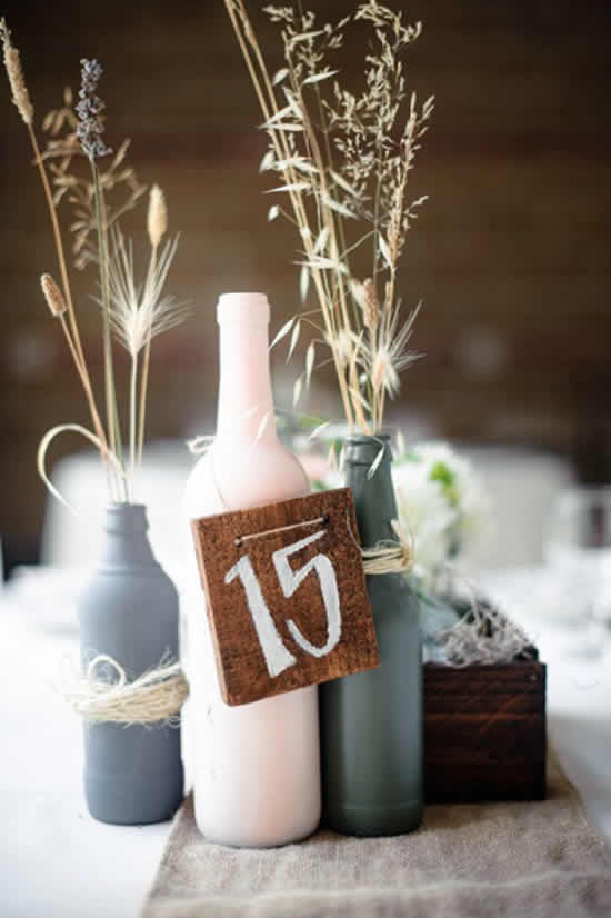 Lindas ideias de casamento com garrafas