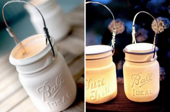Decoração linda para casamento com potes de vidro