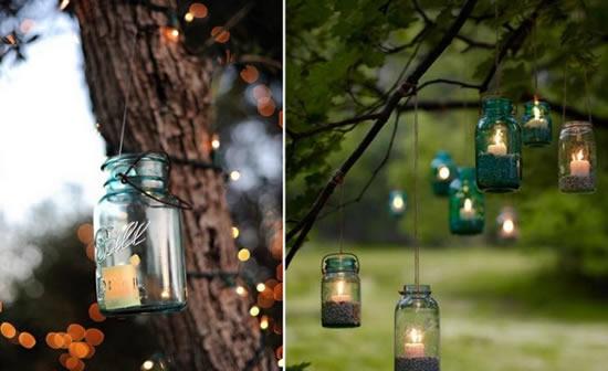 Decoração linda para casamento com vidrinhos