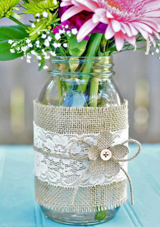 Enfeites para casamento com vidrinhos