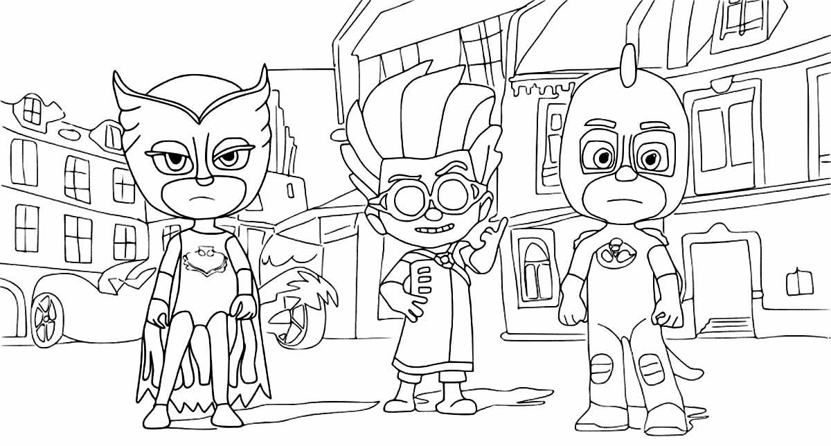 Desenho para pintar de PJ Masks