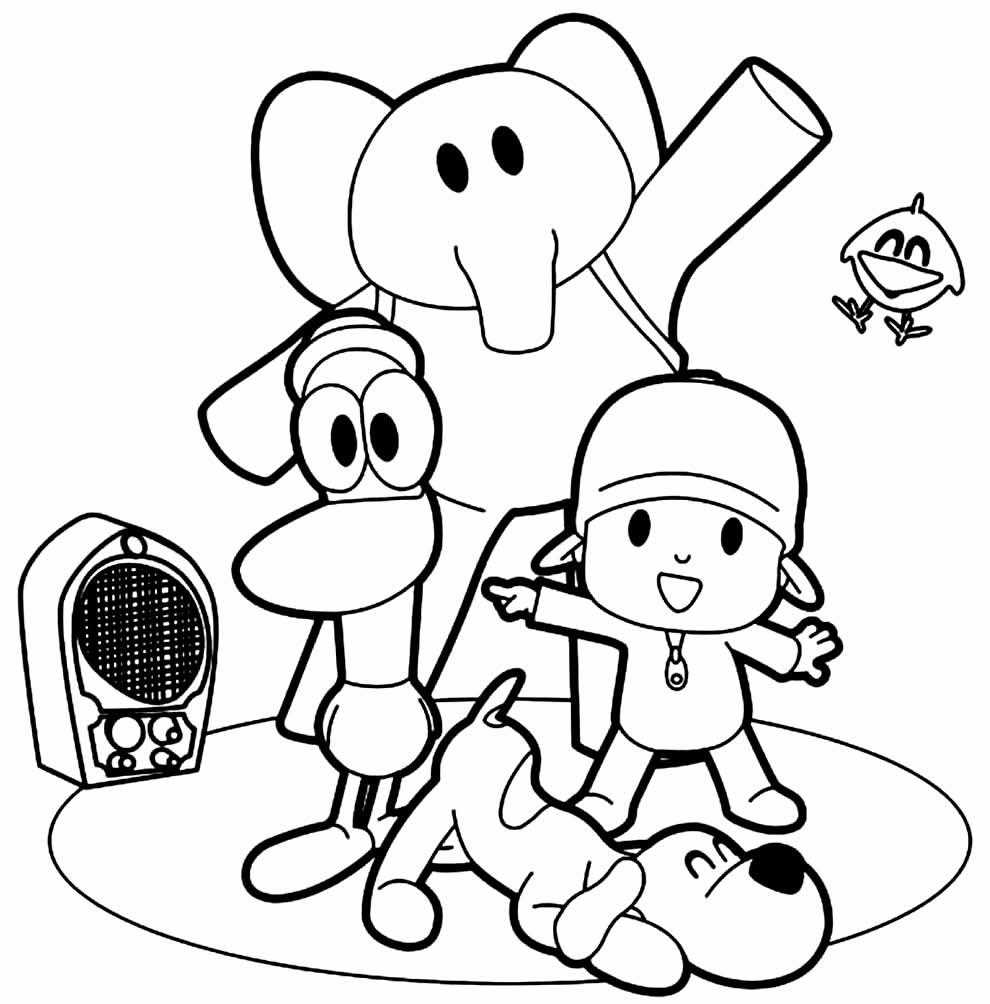Imagem para pintar e colorir do Pocoyo