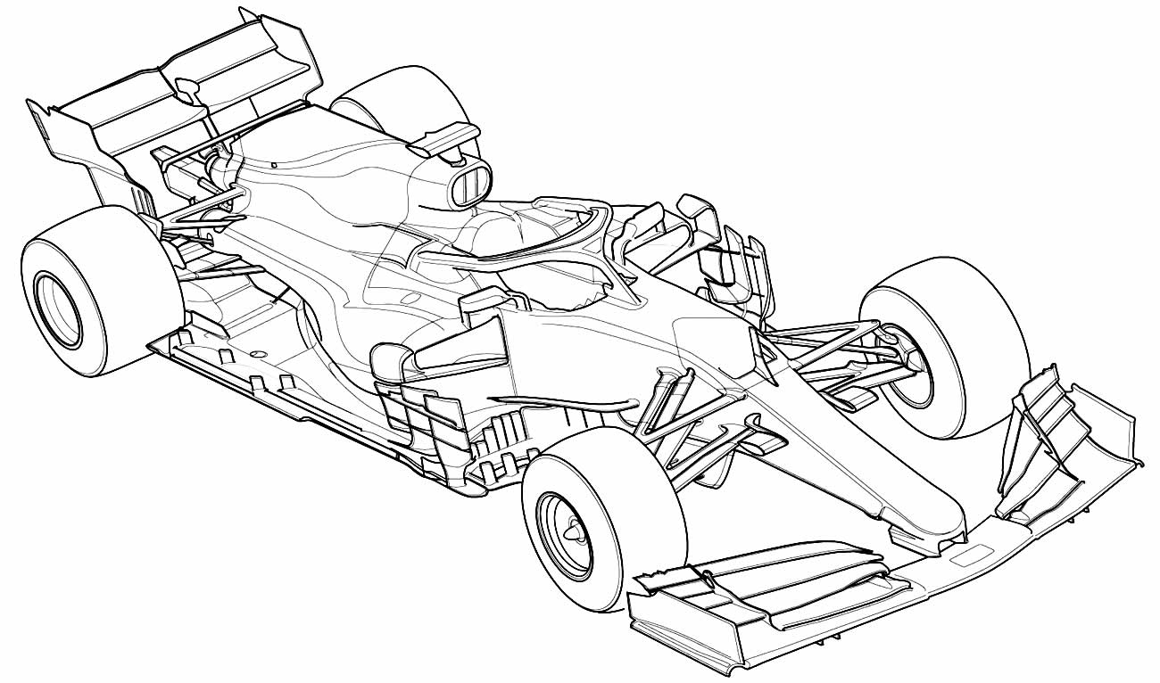 Desenho carro de corrida para colorir