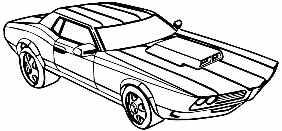 Desenho para colorir de carro de corrida