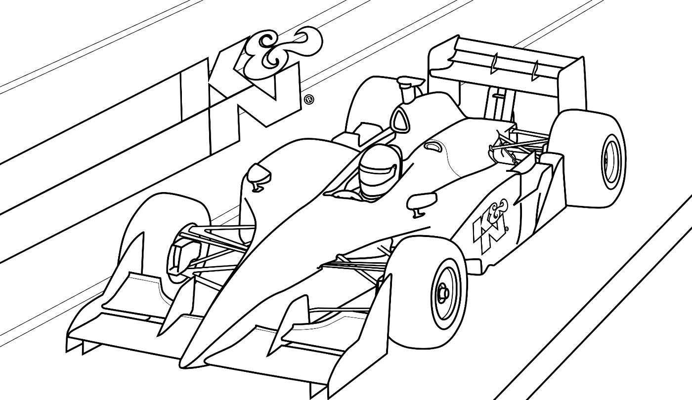 Atividades infantis com desenhos de carros de corrida para colorir