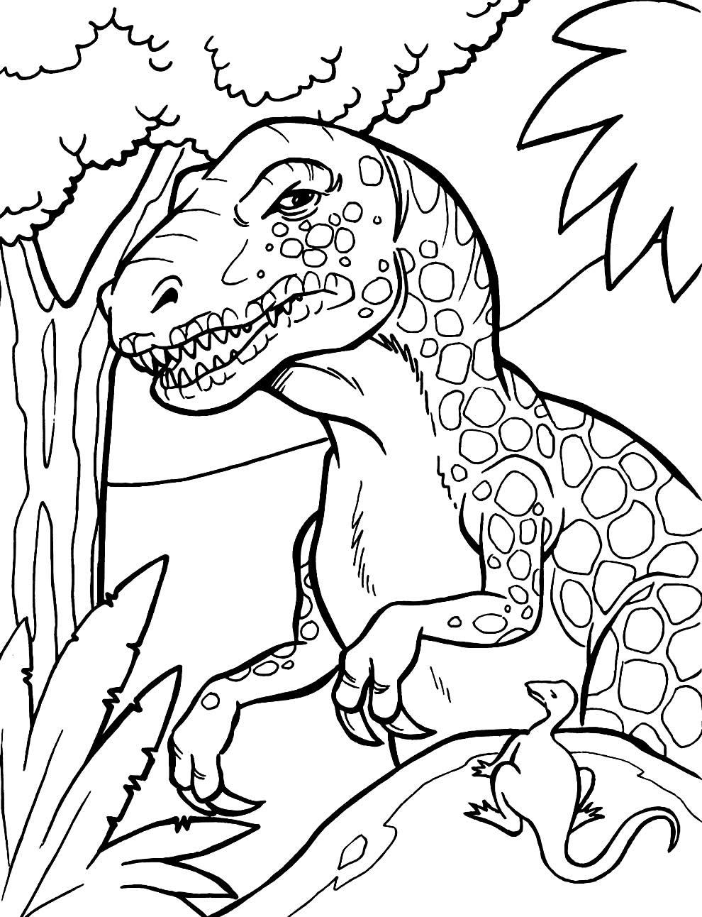Molde de dinossauro para colorir